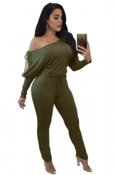 Womens Sexy One Shoulder Batwing Sleeve Lace Up Plain Jumpsuit Green