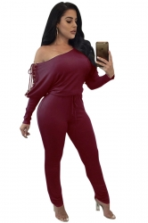 Womens Sexy One Shoulder Batwing Sleeve Lace Up Plain Jumpsuit Ruby