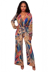 Womens Sexy Deep V-Neck High Waisted Flower Printed Jumpsuit Blue