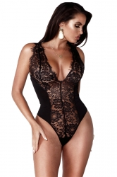 Womens Sexy Deep V-Neck Lace Sleeveless Plain Bodysuit Black