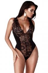 Womens Sexy Deep V-Neck Lace Sleeveless Plain Bodysuit Black
