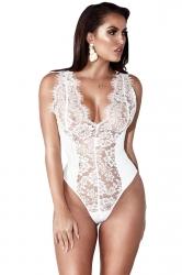 Womens Sexy Deep V-Neck Lace Sleeveless Plain Bodysuit White