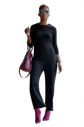 Womens Casual Crew Neck 3/4 Length Sleeve Plain Jumpsuit Dark Gray