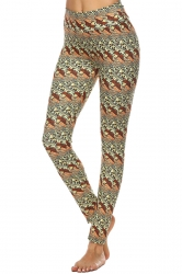 Womens High Waisted Skinny Ankle Length Printed Leggings Khaki