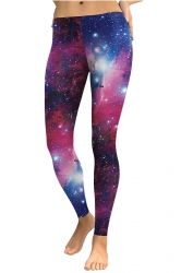 Womens Skinny Elastic Ankle Length Galaxy Printed Leggings Rose Red