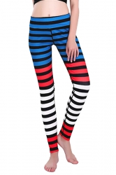 Womens Skinny Ankle Length Colorful Stripes Printed Leggings Dark Red