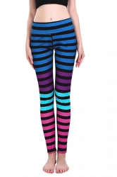 Womens Skinny Ankle Length Stripes Printed Leggings Sapphire Blue