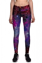 Womens Skinny Elastic Ankle Length Galaxy Printed Leggings Ruby