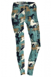Womens Ankle Length Skinny Unicorn Printed Leggings Army Green