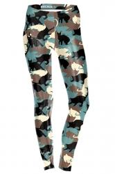 Womens Skinny Ankle Length Cats Printed Leggings Brown