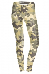 Womens Slimming Ankle Length Camouflage Printed Leggings Khaki