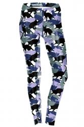 Womens Skinny Ankle Length Cats Printed Leggings Purple