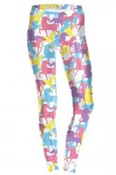 Womens Ankle Length Skinny Unicorn Printed Leggings Pink