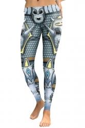 Womens Skinny Elastic Ankle Length Devil Printed Leggings Silver