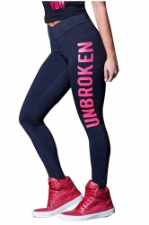 Womens Skinny High Waisted Words Printed Leggings Rose Red