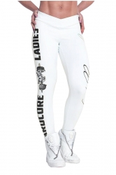 Womens Skinny High Waisted Words Printed Leggings White