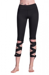 Womens Sexy Skinny Lace Up Ankle Length Plain Leggings Black
