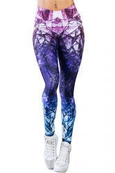 Womens Elastic Gradient Color Ankle Length Printed Leggings Purple