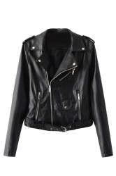 Womens Turndown Collar Epaulet Zipper Belt Leather Jacket Black