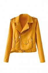 Womens Turndown Collar Epaulet Zipper Belt Leather Jacket Yellow