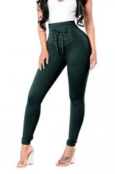 High Waist Cross Lace Up Elastic Oversized Leisure Pants Dark Green