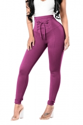 High Waist Cross Lace Up Elastic Oversized Leisure Pants Dark Purple