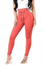 Womens High Waist Cross Lace Up Elastic Oversized Leisure Pants Orange