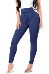 High Waist Cross Lace Up Elastic Oversized Leisure Pants Navy Blue