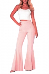 Womens High Waist Wide Legs Bell-Bottoms Leisure Pants Watermelon Red