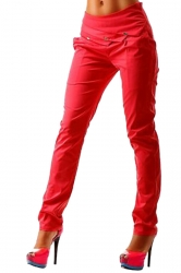 Womens Slimming Leisure Ruffle High Waisted Plain Pencil Pants Red