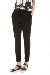 Womens Drawstring Zipper Pockets Plain Leisure Pants Black