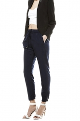 Womens Drawstring Zipper Pockets Plain Leisure Pants Navy Blue