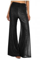 Womens Elegant High Waist Bell Bottoms Oversized Leisure Pants Black