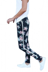 Womens Elastic Floral Printed With Pocket Yoga Sport Leggings Black