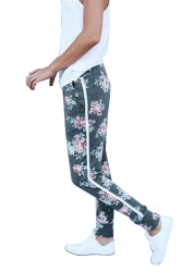 Womens Elastic Floral Printed With Pocket Yoga Sport Leggings Gray