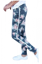 Elastic Floral Printed With Pocket Yoga Sport Leggings Light Blue