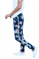 Elastic Floral Printed With Pocket Yoga Sport Leggings Navy Blue