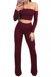 Women Sexy Off Shoulder Lace Up Crop Top&Loose Pants Leisure Suit Ruby