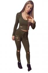 Womens Sexy Hooded Crop Top&Drawstring Leggings Sports Suit Army Green