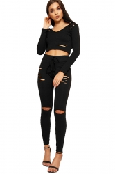 Womens Sexy Hooded Crop Top&Drawstring Leggings Sports Suit Black
