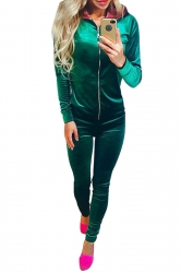 Womens Zipper Long Sleeve Hoodie&Plain Pants Sports Suit Green