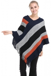 Womens V-Neck Color Block Fringe Pullover Sweater Poncho Gray