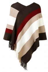 Womens V-Neck Color Block Fringe Pullover Sweater Poncho Khaki