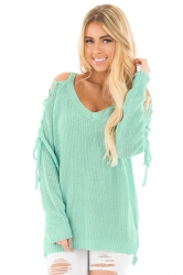 Womens V-Neck Lace Up Shoulder Cut Out Plain Pullover Sweater Blue