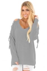 Womens V-Neck Lace Up Shoulder Cut Out Plain Pullover Sweater Gray