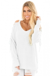 Womens V-Neck Lace Up Shoulder Cut Out Plain Pullover Sweater White