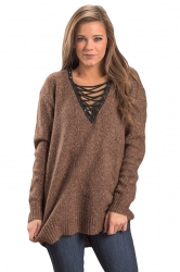 Womens Lace Up Neckline Long Sleeve Knit Plain Pullover Sweater Brown