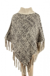 Womens High Collar Batwing Sleeve Fringe Pullover Sweater Poncho Black