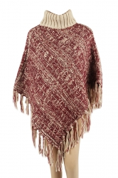 Womens High Collar Batwing Sleeve Fringe Pullover Sweater Poncho Red