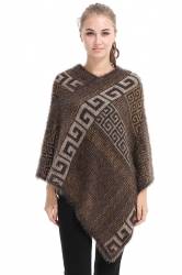 Womens  V-Neck Geometry Pattern Pullover Sweater Poncho Coffee